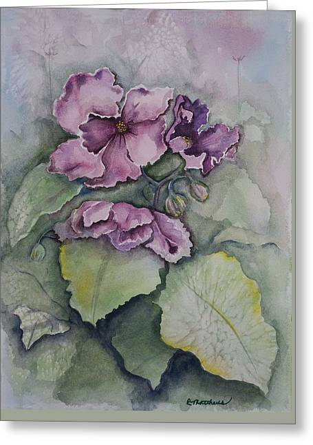 Greeting Card featuring the painting African Violets by Rebecca Matthews