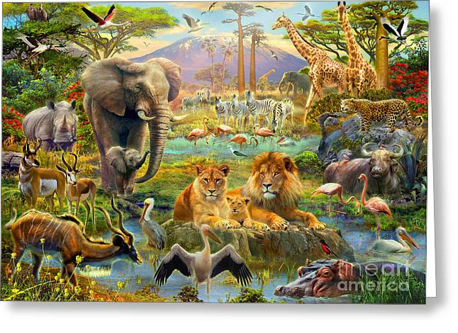 African Watering Hole Greeting Card by Jan Patrik Krasny