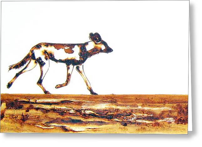 Endangered African Wild Dog - Original Artwork Greeting Card