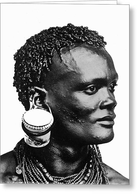 African With Jam Pot Ear Piercing Greeting Card