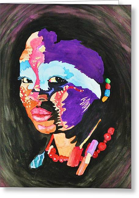 African Woman Greeting Card by Glenn Calloway