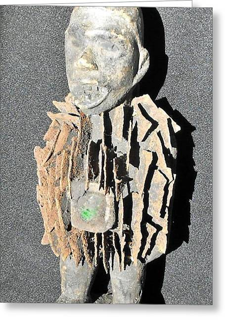 African Wood Carving With Nail Fetish Greeting Card by Anonymous