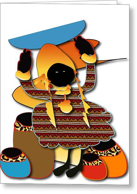 Greeting Card featuring the digital art African Worker by Marvin Blaine