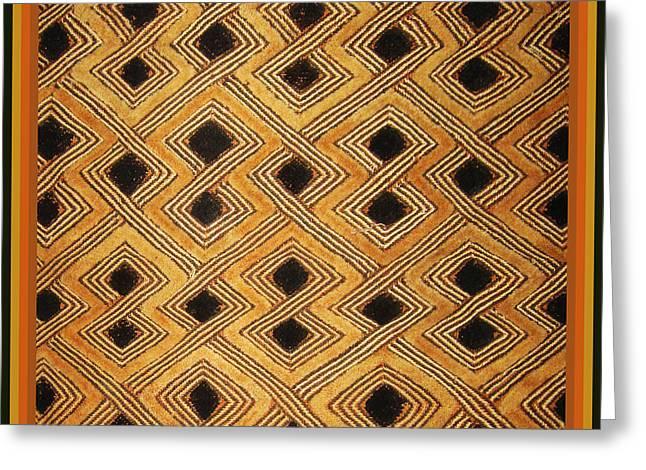 African Zaire Congo Kuba Textile Greeting Card