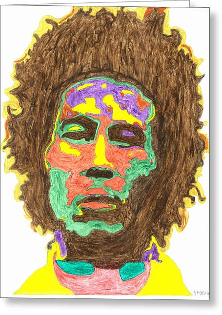 Greeting Card featuring the painting Afro Bob Marley by Stormm Bradshaw