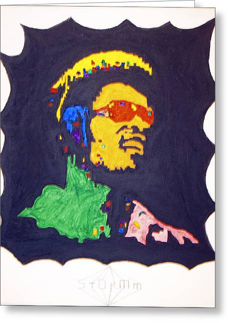 Greeting Card featuring the painting Afro Stevie Wonder by Stormm Bradshaw