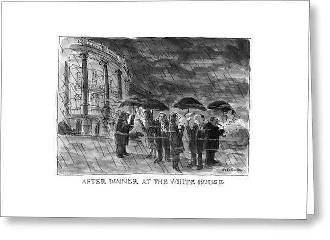 After Dinner At The White House Greeting Card by James Stevenson