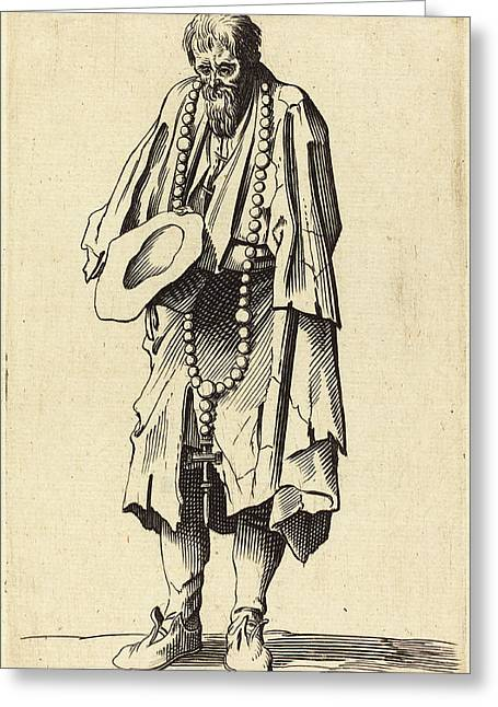 After Jacques Callot, Beggar With Rosary Greeting Card