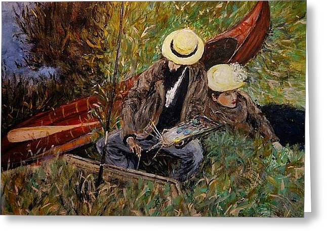 After John Singer Sargent- Paul Cesar Helleu Sketching With His Wife 1889 Greeting Card
