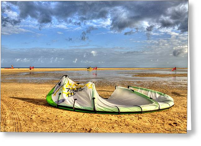 After Kiteboarding Session Greeting Card by Julis Simo