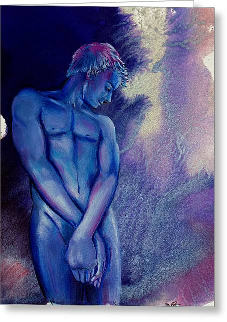 Greeting Card featuring the painting After Midnight by Rene Capone