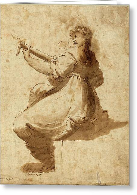 After Orazio Gentileschi, The Lute Player Greeting Card