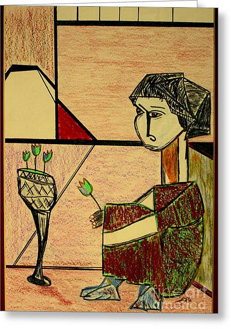 Greeting Card featuring the pastel after Picasso by Bill OConnor