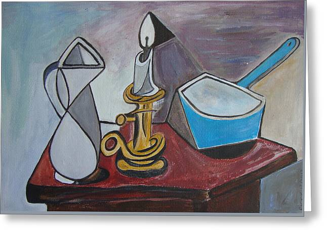 After Picasso Still Life With Casserole Greeting Card by Veronica Rickard