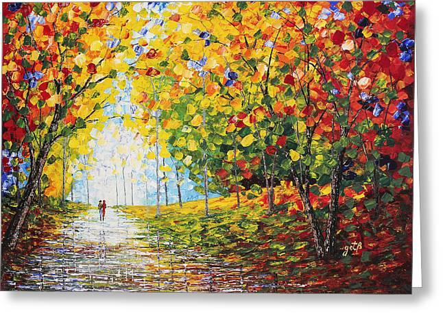 Greeting Card featuring the painting After Rain Autumn Reflections Acrylic Palette Knife Painting by Georgeta Blanaru