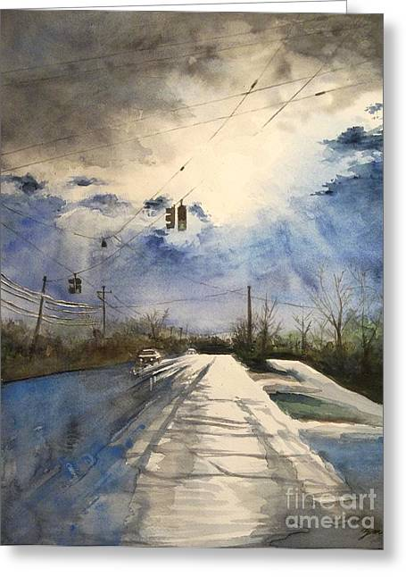 After Rain -on The Michigan Ave. Saline Michigan Greeting Card by Yoshiko Mishina