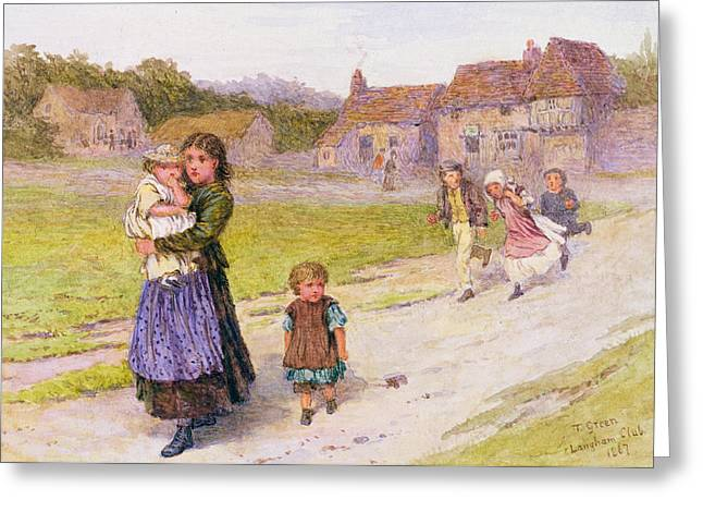 After School Greeting Card by Henry Towneley Green