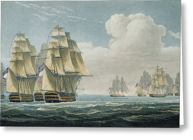 After The Battle Of Trafalgar Greeting Card by Thomas Whitcombe