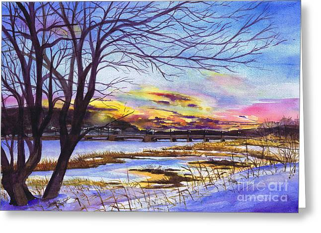 After The Blizzard Bayville Greeting Card by Susan Herbst