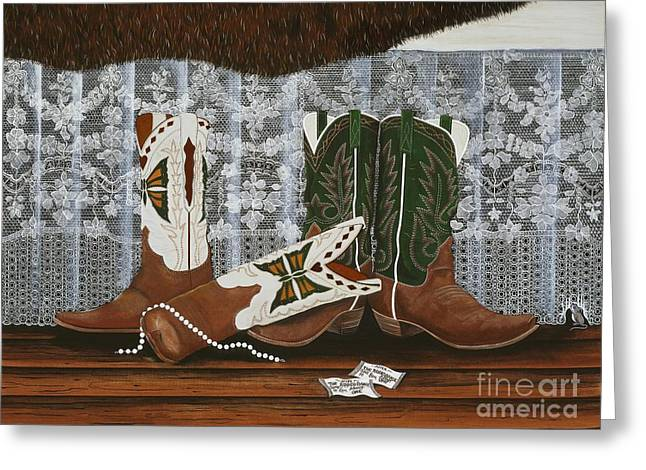 After The Rodeo Dance Greeting Card by Jennifer Lake