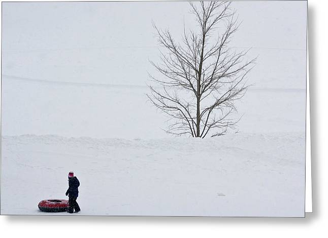 Greeting Card featuring the photograph After The Snow Tube Ride by Ann Murphy