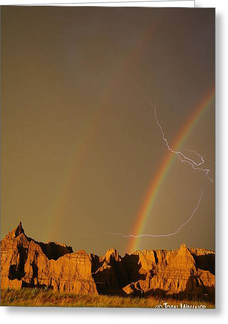 After The Storm - Lightning And Double Rainbow Greeting Card by Joan Wallner