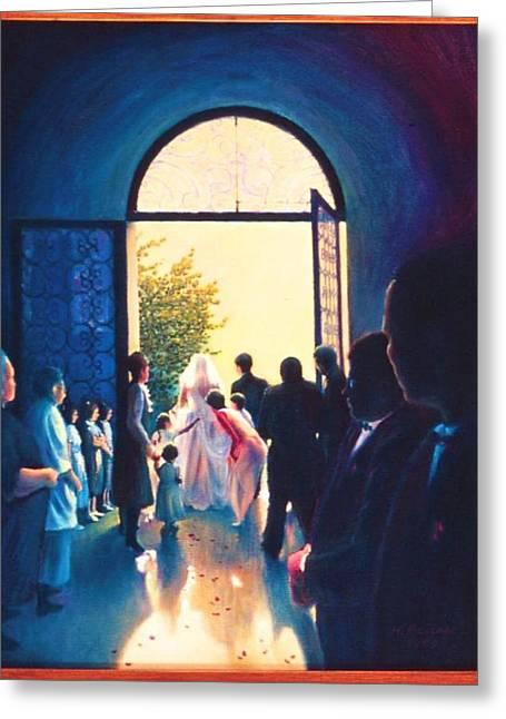 After The Wedding Greeting Card by Herschel Pollard