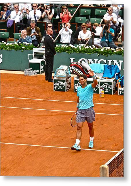 Rafael Nadal After Victory Greeting Card by Alexi Hoeft