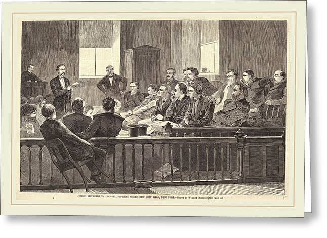 After Winslow Homer, Jurors Listening To Counsel Greeting Card by Litz Collection