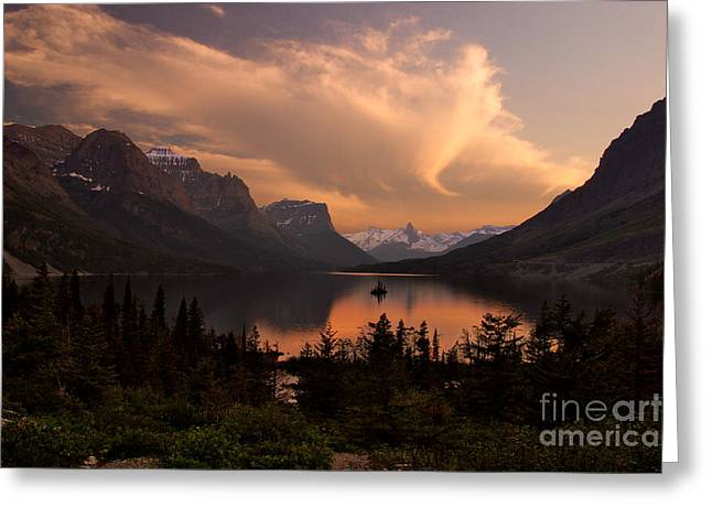 Afterglow Over Wild Goose Island In Saint Mary Lake Greeting Card