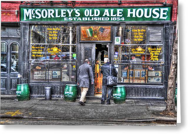 Afternoon At Mcsorley's Greeting Card by Randy Aveille