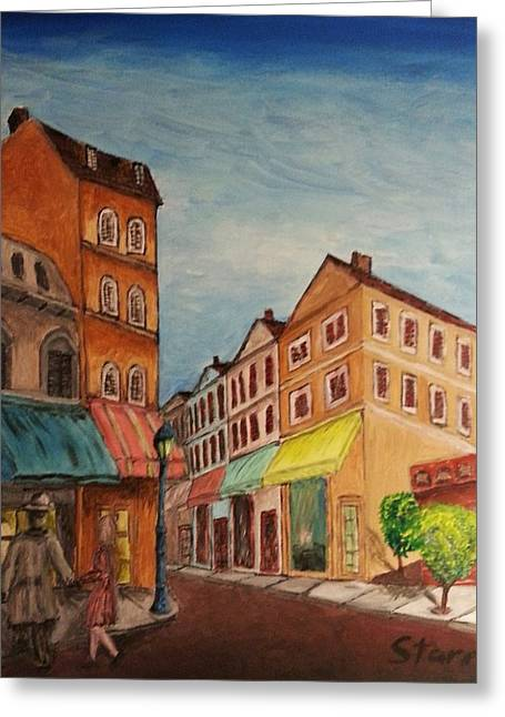 Afternoon Cafe Greeting Card by Irving Starr