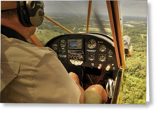 Afternoon In A J3 Cub Greeting Card