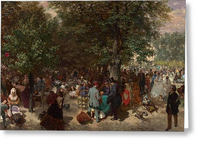 Afternoon In The Tuileries Gardens Greeting Card by Adolph Friedrich Erdmann von Menzel