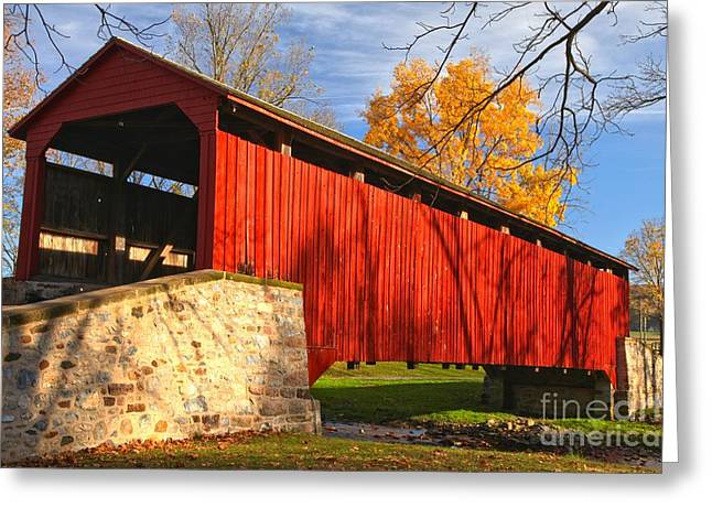 Afternoon Light At The Poole Forge Covered Bridge Greeting Card by Adam Jewell
