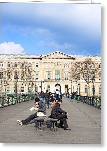 Afternoon On The Pont Des Arts - Parisian Style Greeting Card by Mark E Tisdale