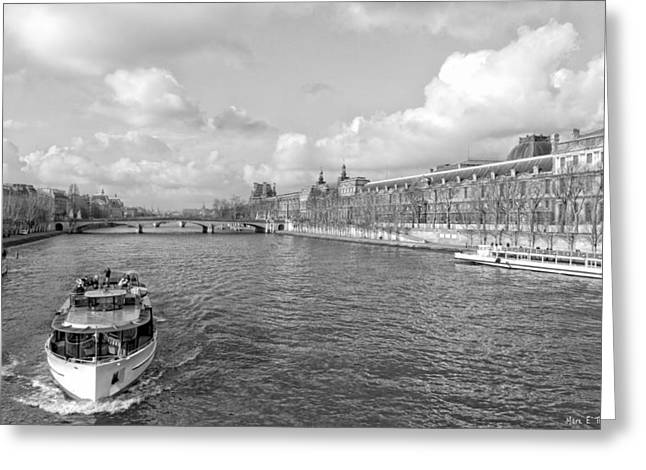 Afternoon River Cruise On The Seine - Paris Greeting Card by Mark E Tisdale
