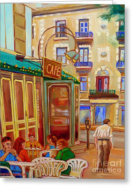 Afternoon Stroll Downtown Montreal-paintings Of Rue St Denis Carole Spandau Greeting Card by Carole Spandau