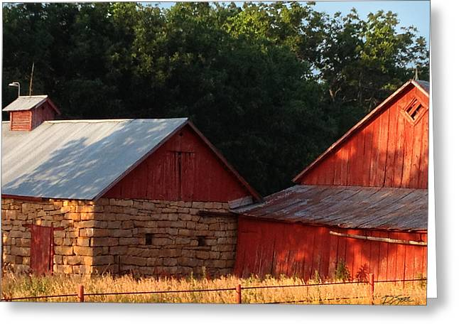 Afternoon Sun On The Old Red Barn Greeting Card