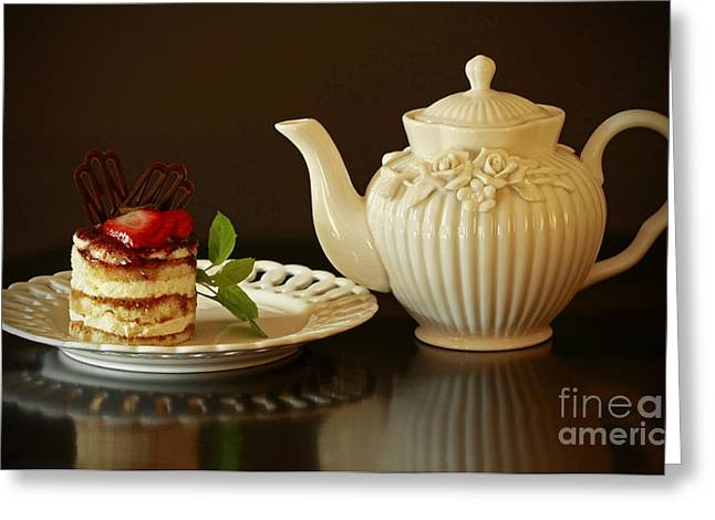 Afternoon Tea And Tiramisu Greeting Card by Inspired Nature Photography Fine Art Photography