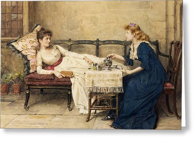 Afternoon Tea Greeting Card by George Goodwin Kilburne