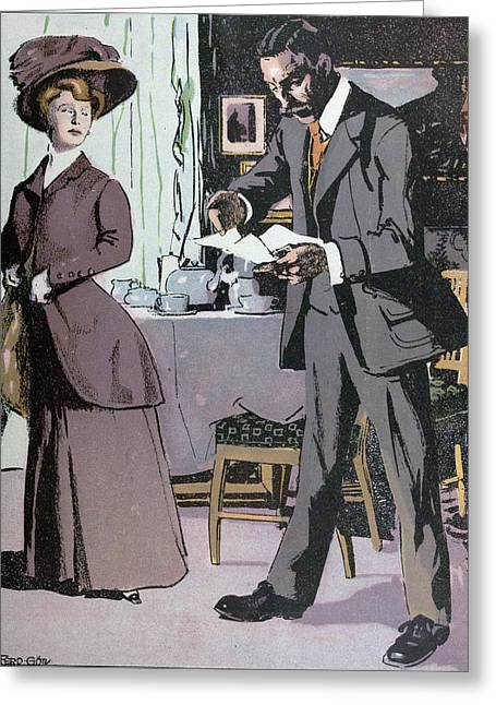 Afternoon Tea, Tea, Lady, Man, Table, Teapot, Tea,  Food Greeting Card by Gotz, Ferdinand (1874-1936), German