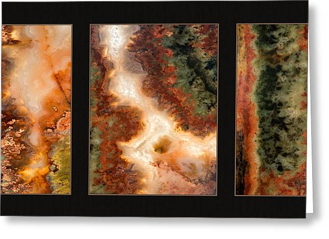 Agate Triptych 1 Greeting Card by Leland D Howard