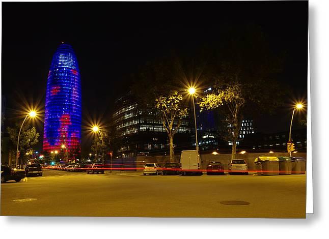 Agbar Tower At Night Greeting Card by Ioan Panaite