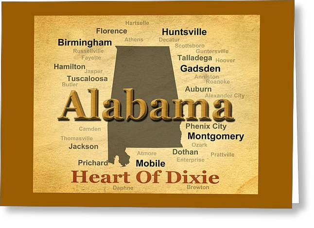 Aged Alabama State Pride Map Silhouette  Greeting Card by Keith Webber Jr