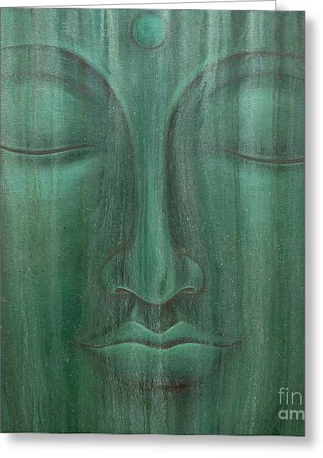 Aged Green Buddha Greeting Card by Gayle Utter