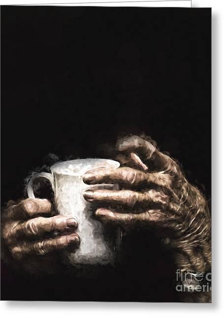 Aged Hands Holding Mug Greeting Card