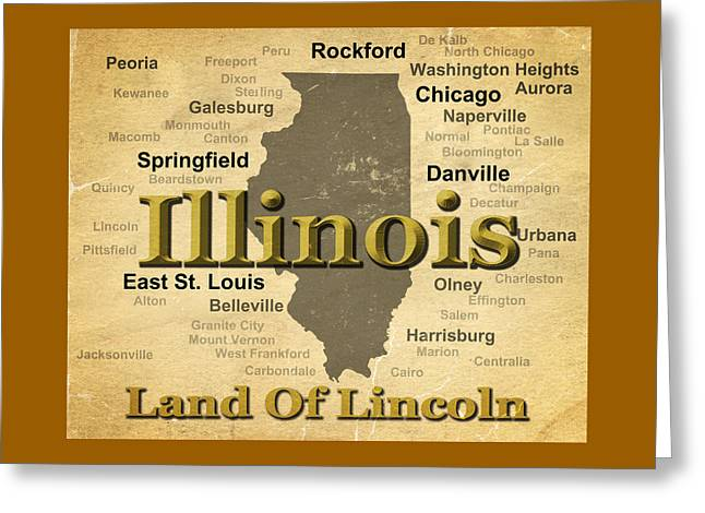 Aged Illinois State Pride Map Silhouette  Greeting Card by Keith Webber Jr