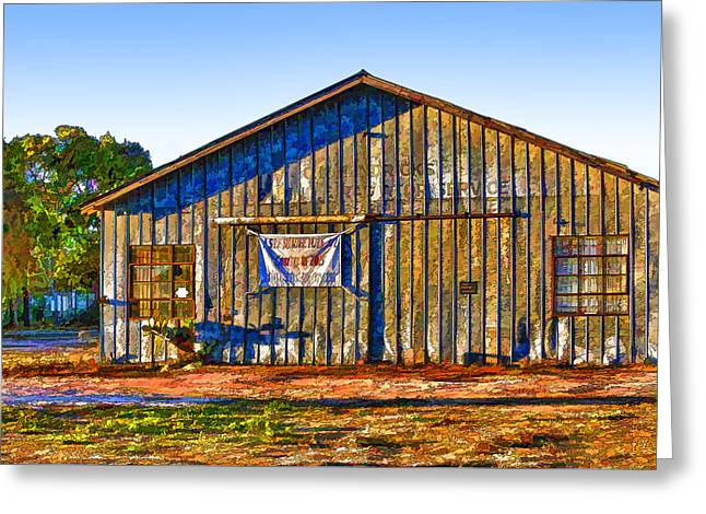 Aged Metal Shed Cartoon Greeting Card by Linda Phelps