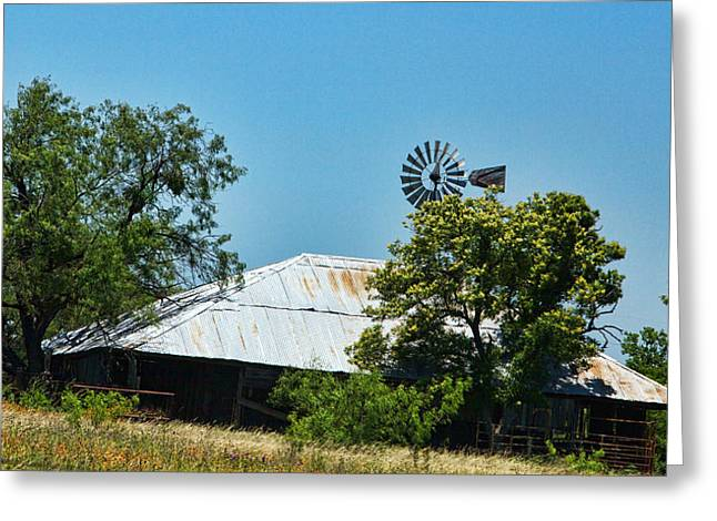 Aged Texas Barn Greeting Card by Linda Phelps
